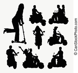 People riding scooter silhouettes Good use for symbol, web...