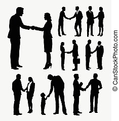 shake hands silhouettes - Shake hands male and female...