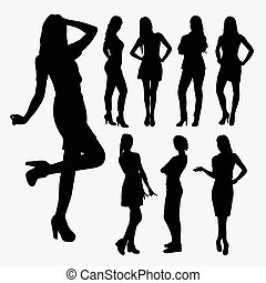 Casual girl pose silhouettes