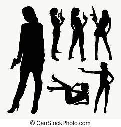 Female with gun silhouettes