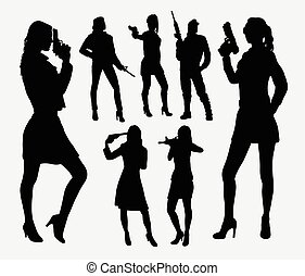 Girl with gun silhouettes Good use for symbol, logo, web...