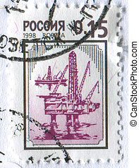 postmark - RUSSIA -CIRCA 1998: The ancient Russian castle,...