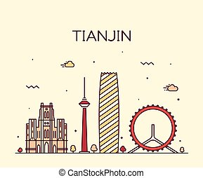 Tianjin skyline vector illustration line art