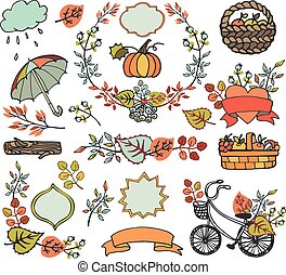 Autumn leaves ,branches.Plant decorations,harvest - Autumn...