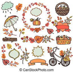 Autumn leaves ,branches.Plant harvest decorations - Autumn...