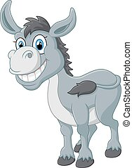 cartoon donkey smile and happy - vector illustration of...