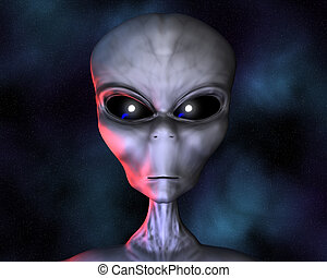 alien portrait with stars in background