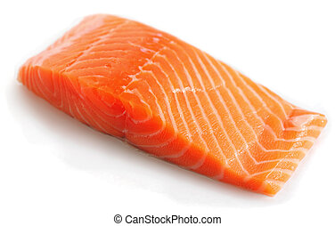 Salmon steak on white with light shadow - A salmon steak on...