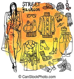 Girl and street fashion clothing set.Sketchy in watercolor...
