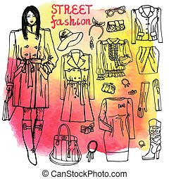 Girl and street fashion clothing set.Sketchy on watercolor...