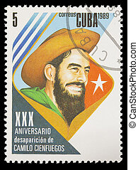 Postage stamp printed in Cuba shows the Cuban Revolution with the portrait of Camilo Cienfuegos