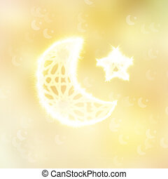 abstract oriental  background with moon and star
