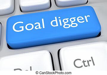 Goal digger concept - Render illustration of computer...