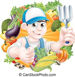 Gardener and Vegetables