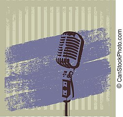 Retro Microphone Brush vector 2