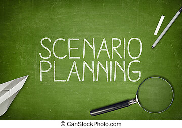 Scenario planning concept on blackboard with magnifying...