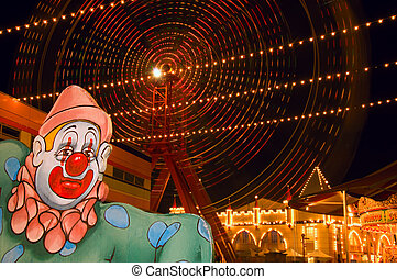 Fairground at night - The iconic ferris wheel of Luna Park,...