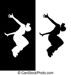 woman parkour - Vector silhouette of a woman who does...