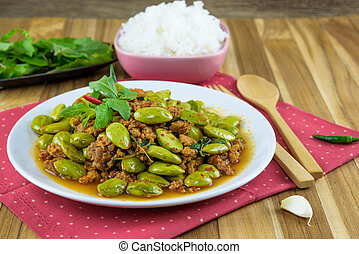 Sato fried pork curry Southern food of Thailand