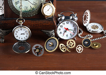 Time Concept - Time concept. Set of various clocks and...