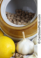 Chickpeas garlic and lemon - A rustic pottery storage jar...