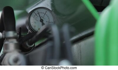 Pressure gauge,  - ounter pressure pipes green color