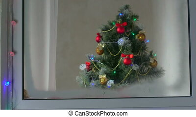 Window with Christmas Tree