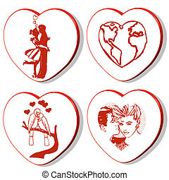 3d hearts