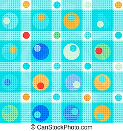 colored circles and polygons on a gentle blue background vector illustration