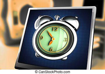glossy alarm clock at monitor