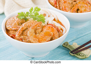 Thai Prawn Curry with Noodles - Thai red curry with prawns...