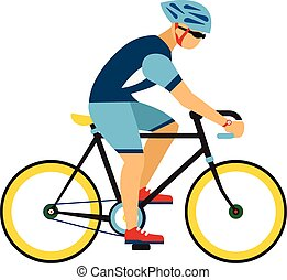 Man with helmet ride by road bicycle Cycling sport vector...