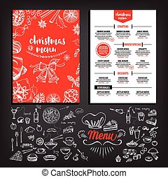 Christmas party invitation restaurant. Food flyer. -...