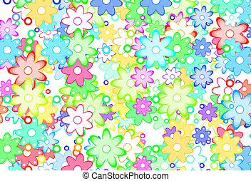 Cute Spring Flowers Abstract - Cute Cartoon Art Flowers...