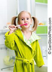 Spazzolatura, bagno, capretto, ragazza, denti
