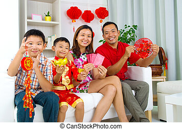 asian family - Asian family celebrate chinese new year