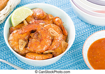 Gambas al Ajillo - Prawns with garlic slivers and smoked...
