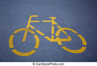 Bike Lane - Bicycle path - white sign on gray asphalt