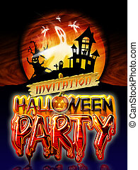 Halloween Party Ghost - Halloween Party Invitation with...