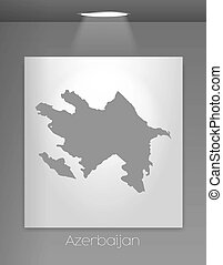 Gallery Illustration with the country shape of Azerbaijan -...