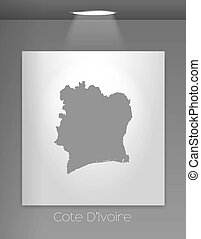 Gallery Illustration with the country shape of Cote Divoire...