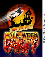 Halloween Party Witch - Halloween Party Invitation with...