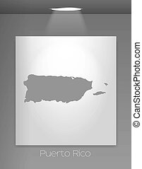 Gallery Illustration with the country shape of Puerto Rico