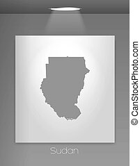 Gallery Illustration with the country shape of Sudan - A...