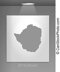 Gallery Illustration with the country shape of Zimbabwe - A...