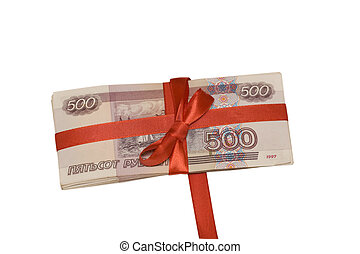 gift in money - Pack of russian roubles are tied up by a red...