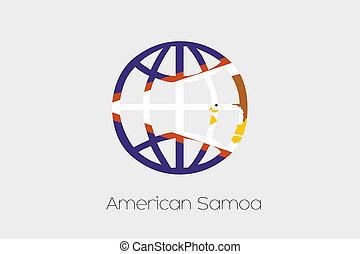 Samoa, dentro, americano, illustrazione, bandiera, mondo,...