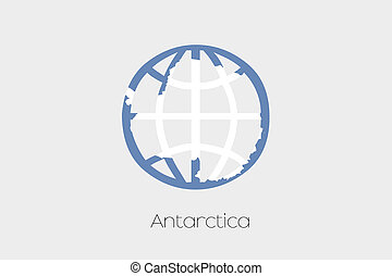 Flag Illustration inside a world icon of Antartica - A Flag...