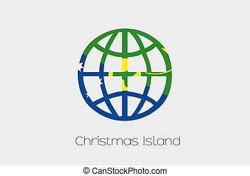 Flag Illustration inside a world icon of Christmas Island -...