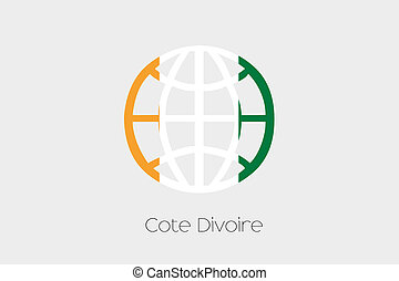 Flag Illustration inside a world icon of Cote DIvoire - A...